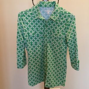 Charter Club green/cream shirt